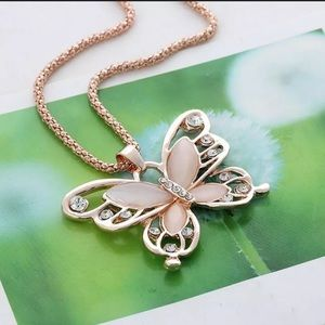 NEW! Rose Gold Opal Butterfly Necklace & Pendant
